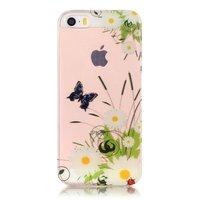 Coque en TPU SE transparente pour iPhone 5, 5s et papillons transparents - Blanc, vert