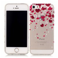 Coque Amour Coque Fleurs TPU iPhone 5 5s SE - Transparent Rouge Rose