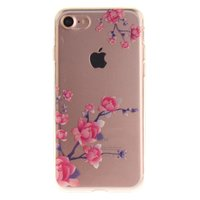 Coque iPhone 7 8 SE 2020 Transparent Blanches Branches TPU - Rose Violet