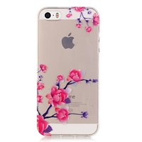 Coque iPhone 5 5s SE 2016 Transparent Branches Branches TPU - Rose Violet