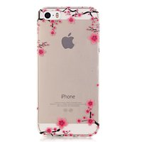 Coque en TPU SE transparente pour iPhone 5, 5s et branches ornées de fleurs - Rose, noir