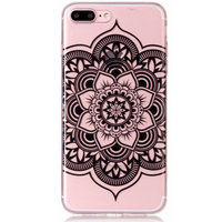Coque en TPU Mandala Flower Transparente pour iPhone 7 Plus - Plus - Noir
