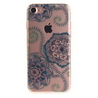 Coque iPhone 7 8 SE 2020 en TPU Transparent Mandala Floral - Bleue