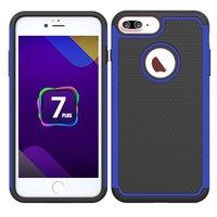 Coque deux pièces hybride en plastique silicone pour iPhone 7 Plus 8 Plus - Bleu Noir