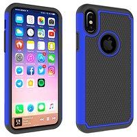 Coque en plastique hybride deux pièces avec plots pour iPhone X XS - Bleu Noir