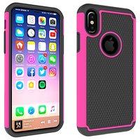 Coque en plastique hybride 2 pièces iPhone X XS Silicone - Rose Noire