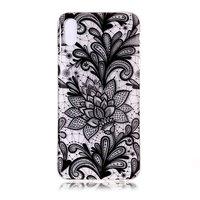 Coque en TPU floral transparent pour iPhone XR - Noir