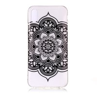 Coque Transparente Fleur de Lotus TPU iPhone XR - Noire