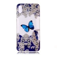 Coque iPhone XR transparente en TPU avec fleurs et oiseaux - Bleu Blanc