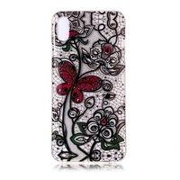 Coque Papillon Floral Dentelle Transparente TPU iPhone XR - Noir Rouge