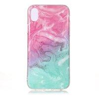 Coque en TPU Marbre Transparent iPhone XR - Bleu Rose