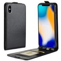 Étui à rabat en cuir pour iPhone XS Max - Noir