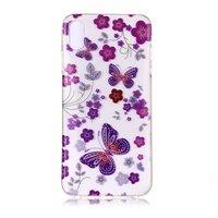 Fleurs transparentes et papillon iPhone XS Max - Violet