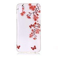 Branche fleurie avec des papillons Etui en TPU élégant iPhone XS Max - Rouge