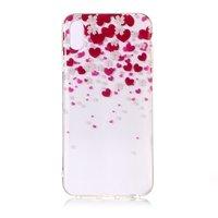 Coque souple en TPU Coeurs et Fleurs iPhone XS Max - Rose Rouge