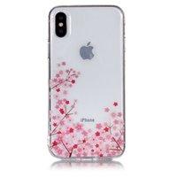 Coque souple en TPU transparente petites fleurs iPhone X XS - Rose