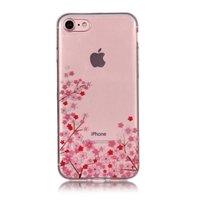 Coque souple en TPU transparente petites fleurs iPhone 7 8 - Rose
