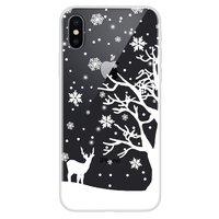 Housse d'hiver de couverture de neige flexible de Noël iPhone X XS - Transparent
