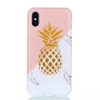 Pochette souple marbre doré ananas marbre rose iPhone X XS - Rose Blanc