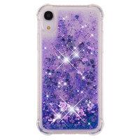 Étui de protection violet glitter poudre pourpre TPU iPhone XR - Étui violet foncé