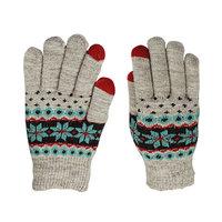Gants tricotés pour écran tactile d'hiver - Flocons de neige Gris