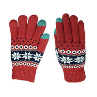 Gants d'hiver tricotés à écran tactile - Flocons de neige Rouge