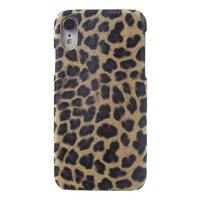 Étui rigide iPhone XR imprimé léopard panthère Similicuir - Texture panthère léopard marron