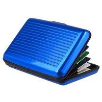 Porte-cartes en aluminium en métal non magnétique - 6 compartiments bleu