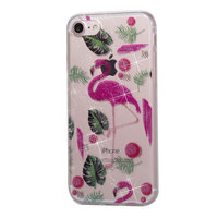 Coque Glitter Powder TPU iPhone 8 SE 2020 7 - Flamants roses et Feuilles