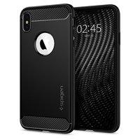 Coque de protection Spigen Rugged Armor pour iPhone XS Max - coque noire en fibre de carbone