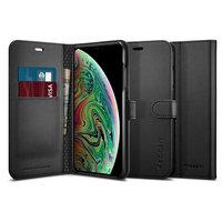 Spigen Wallet S iPhone XS Max cas d'art du livre en cuir - Noir