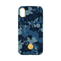 Flavr studio Navy Feuilles iPhone XS Max couverture hardcase - Blue Leaves