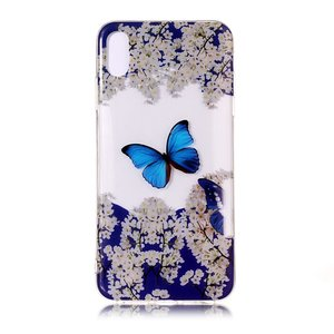 iPhone X TPU hoesje Transparant - Blauw Wit