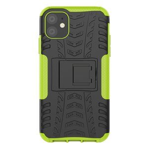 Hybride standaard case shockproof hoesje iPhone 11 - Groen Zwart