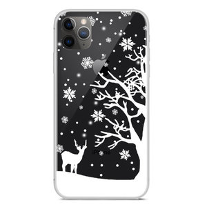 Kerst flexibel sneeuw hoesje winter case christmas iPhone 11 Pro Max - Transparant