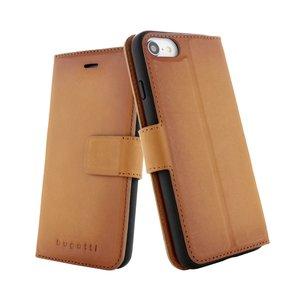 Coque Bugatti Etui Portefeuille En Cuir iPhone 6 6s 7 8 - Cognac Marron