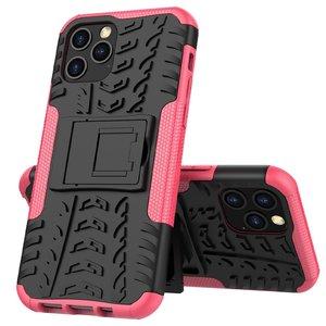 Coque antichoc et TPU absorbant les chocs pour iPhone 12 et iPhone 12 Pro - noire avec rose