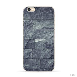 Étui en pierre naturelle gris-bleu iPhone 6 6s Coque en silicone Étui en pierre
