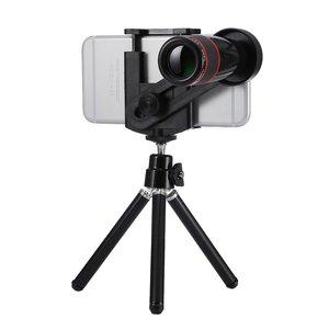 Objectif téléobjectif universel pour zoom optique 12x pour iPhone Trépied - Noir