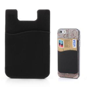 Porte-cartes universel pour téléphone portable en silicone - Noir